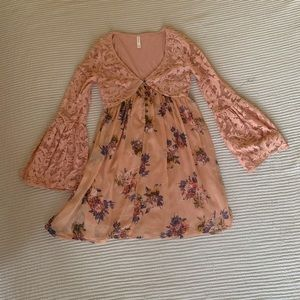 Coral Pirate Sleeve Dress